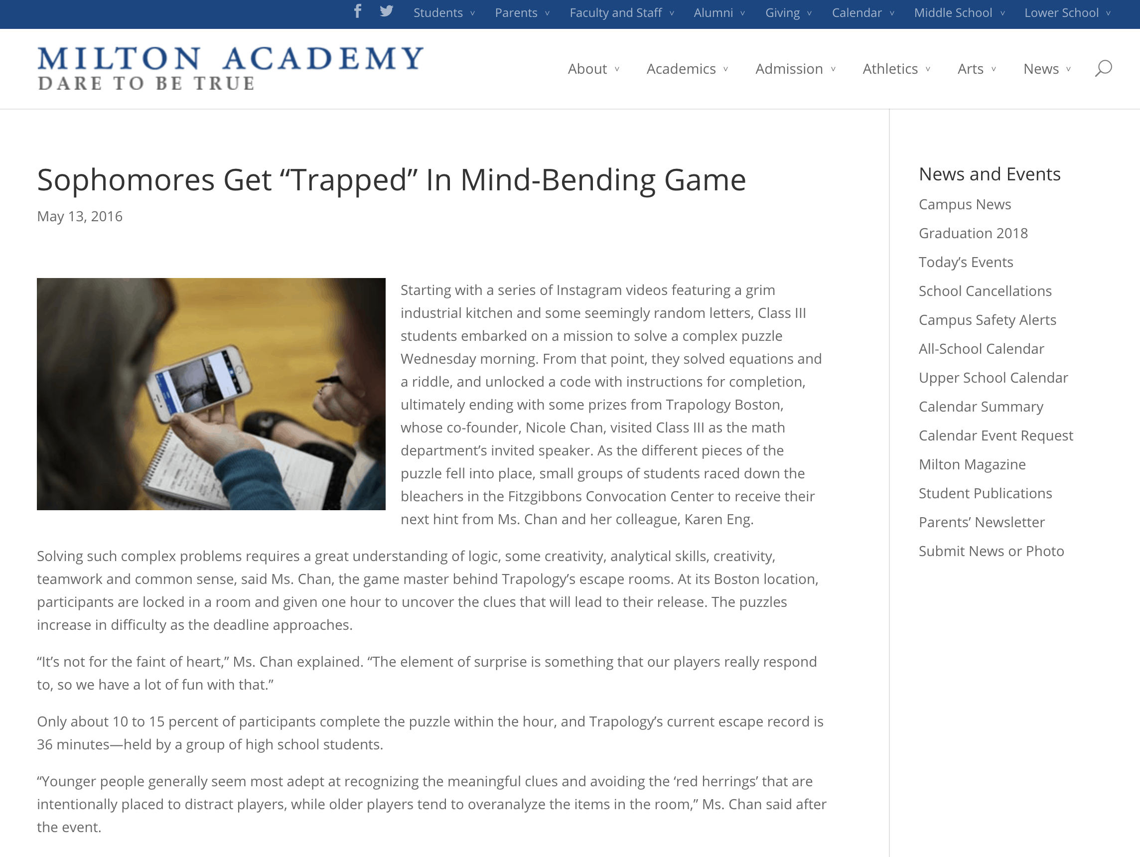 Academic School Boston Escape Game Trapology Boston